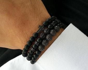 925k silver and matte onyx luxury bracelets