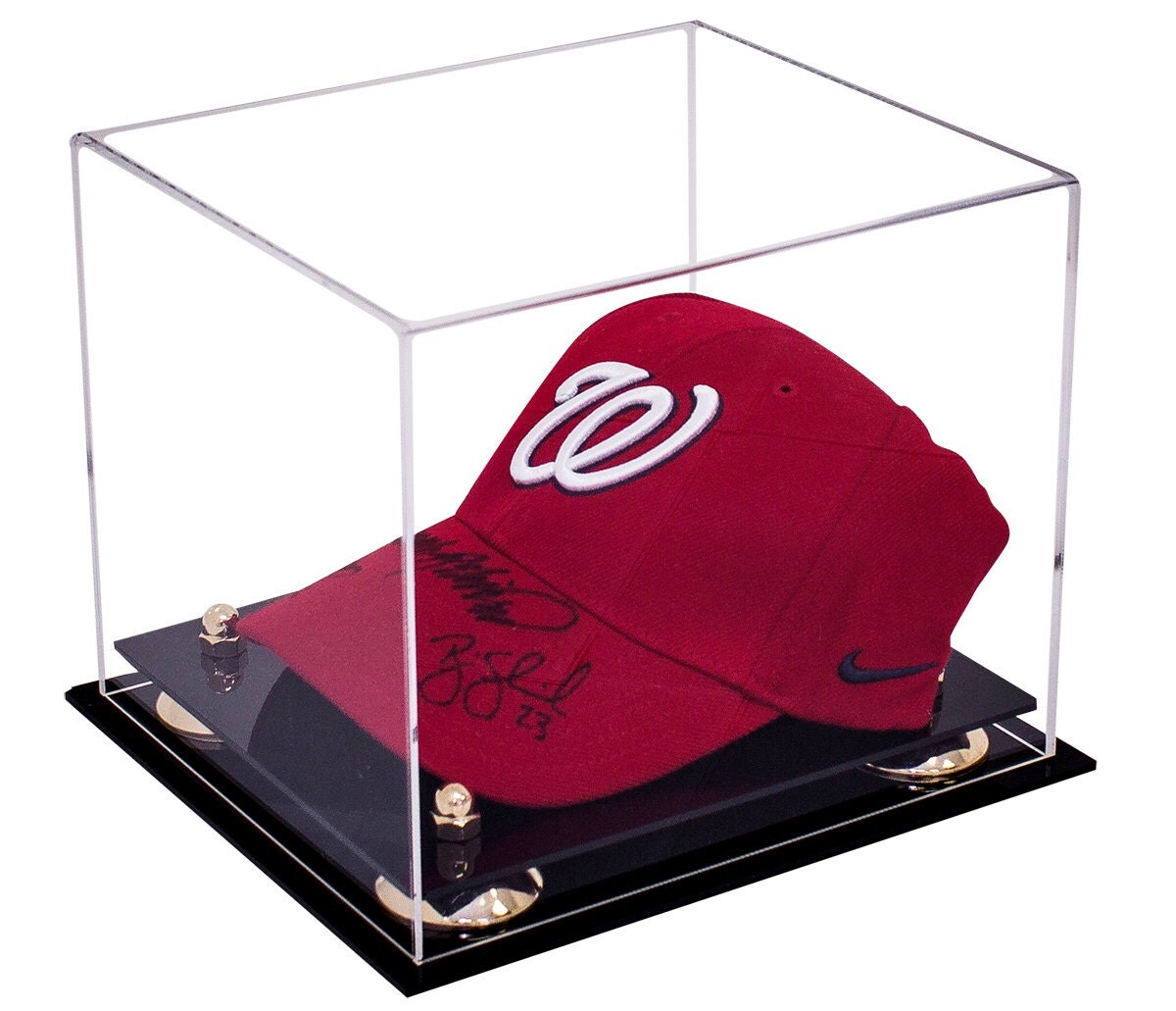 deluxe clear acrylic baseball cap display case with risers