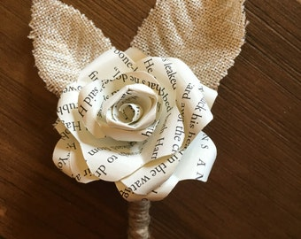 Paper Flower Boutonniere, book flower boutonniere, paper flower corsage, corsage, boutonniere, Paper rose boutonniere, buttonhole, book page