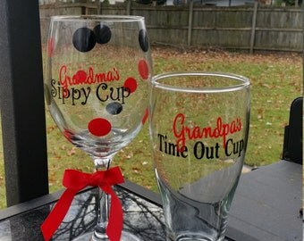 Grandma's Sippy Cup and Grandpa's Time Out glass Set