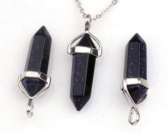 Polished Natural Blue Sandstone Point Pendant, Crystal Quartz Druzy Pendant With Silver Plated Bail