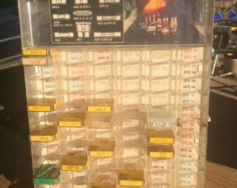 Vintage Littelfuse Display, table top stand, Auto Fuses, Décor