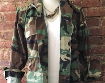 Studded Vintage Camo Jacket