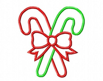 Candy Canes with Bow Applique Embroidery Design, Christmas/Holiday Design, 4x4, 5x7, 6x10 hoop, Instant Download
