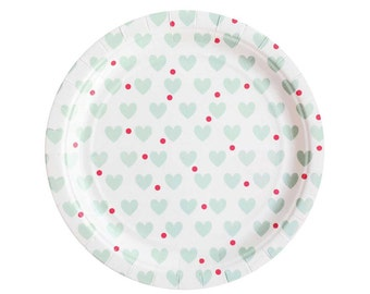 SALE - Heart paper plates. Heart and polka dot party plates.  Valentine's Day party paper plates.  Heart plate.  Bachelorette party plates.