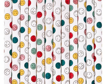 Emoji Paper Straws - set of 25.  Smiley face paper straws. Happy face straws. Emoticon paper straw. Colorful Pink, red, yellow paper straws.
