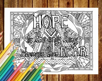 HOPE Coloring Page,  Text Coloring Book Pages, Printable Adult Coloring, Art Therapy, Hope Coloring Pages, Instant Download Print