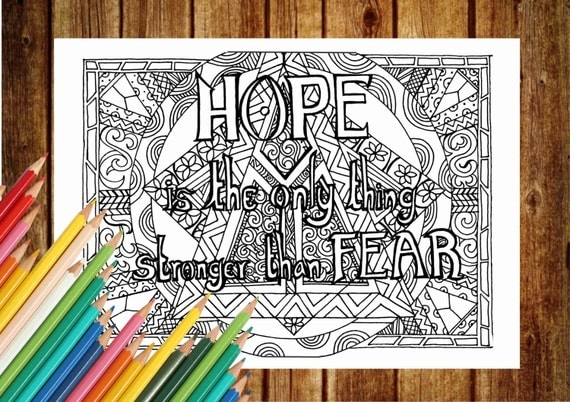 HOPE Coloring Page Text Coloring Book Pages Printable Adult