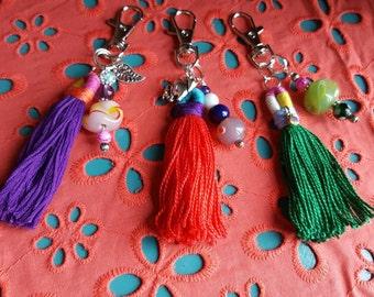 GREEN Vibrant Handmade Tassel - for key rings, purses& totes, backpacks and more!