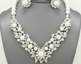 Pearl with Crystal Bridal Necklace Set