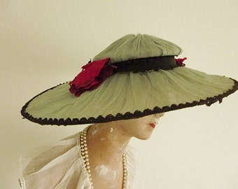 Wow ... antique summer hat, victorian, edwardian, 1910...CHARMANT!