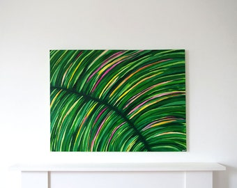 Leaf I. Original abstract painting, acrylic on canvas. Nature painting. Tropical Colourful large painting. Contemporary modern wall art