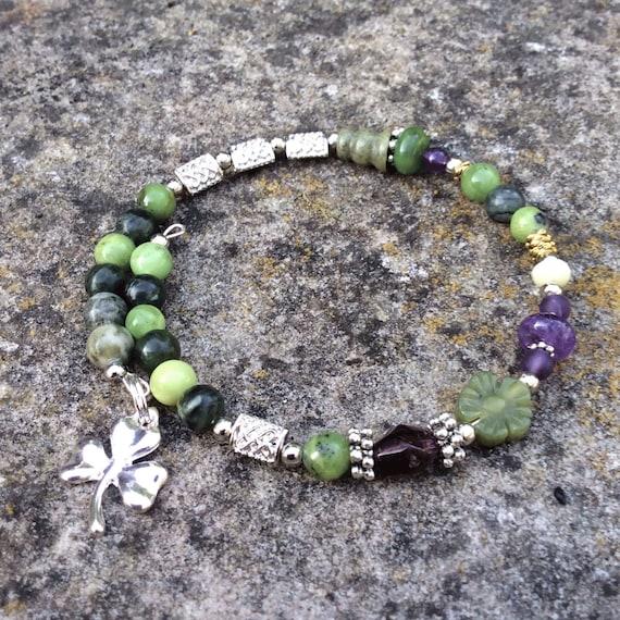 Irish Shamrock Wrap Bracelet Connemara Marble Gemstones Gift