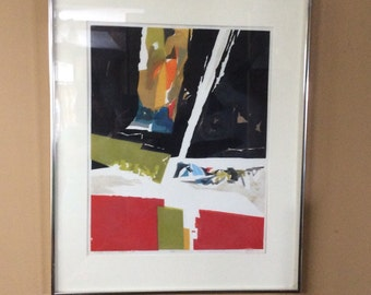 Bright Sand-Black Sky. Beautiful, unique lithograph, signed and titled.