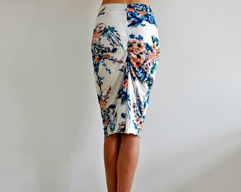 Limited* Draped Tango skirt in Blue flowers