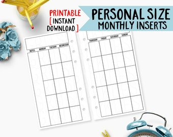 personal size monthly calendar printable: personal size planner inserts, personal size inserts, kikki k medium, filofax personal