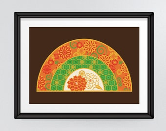 Oriental Fan, Japanese inspired floral patterned art in rich colours of orange green and gold INSTANT DOWNLOAD