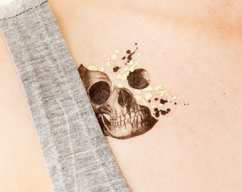 Skull Glittery Minds Temporary Tattoo by PAPERSELF Tattoo Me Halloween makeup