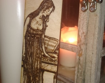 Period Drama Pyrography Wooden Bookmark
