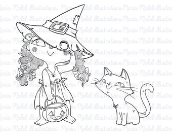 Halloween digital stamp- little witch and cat