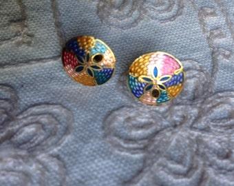 Vintage cloisonné earrings, stud earrings, cloisonné earrings, vintage enamel earrings, cloisonné earrings, vintage stud earrings