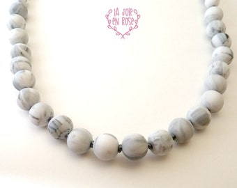Marble Long Silicone Necklace / Marble Bead / Breastfeede Necklace / Silicone Bead Necklace / Pearl Teethe Jewelry / Breastfeeding Necklace