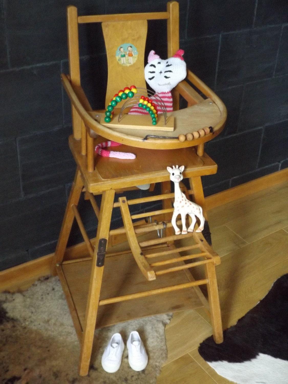 chaise haute pour b b en bois vintage ancienne par angela6773. Black Bedroom Furniture Sets. Home Design Ideas