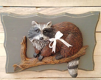 Raccoon wall plaque-ceramic raccoon-raccoon decor-cabin decor-country decor-cottage raccoon