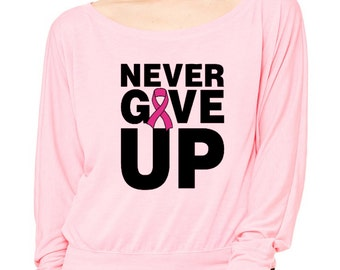Never Give Up Long-Sleeve Breast Cancer Awareness Flowy Shirt  Pink Ribbon Avon Walk
