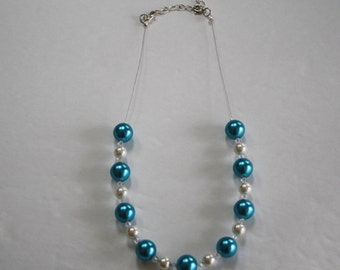 Aqua and White Pearl Beaded Necklace, Pearl Necklace, Aqua Pearls, White Pearl necklace, Beaded Necklace