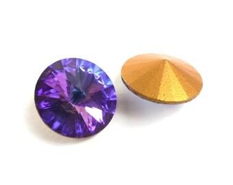 Vintage Swarovski Rivoli crystal rhinestones, art 1122, heliotrope (purple/blue) - 14 mm - 2 pcs - C28