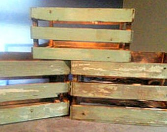 Reclaimed Barnwood teal paint washed Wooden Crate Home Decor Set.
