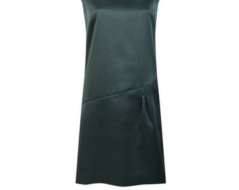 Royal green sleeveless pleated dress