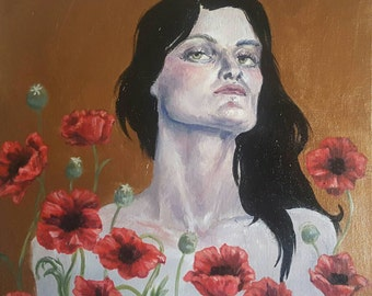 Woman in Poppies Original Acrylic Painting