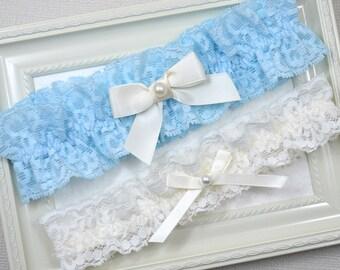 Wedding Garter Set, Bridal Garter, Ivory Wedding Garter, Blue Garter, Ivory Garter, Blue Garter Set, Garter, Blue Garter Set, Blue Garter