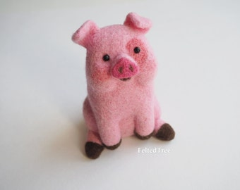 Waddles pig Gravity Falls cartoon felted wool toy pink funny handmade