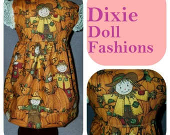 "Dixie-crafted Scarecrow Harvest Dress to fit 18"" Dolls including those from the American Girl Doll Clothes Company"