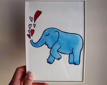 Lily Pulitzer Inspired Elephant 5x7 Original Watercolor