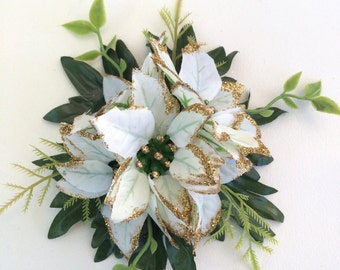 White Poinsettia & Glitter Hair Flower / Clip