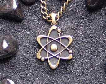 Atom for Peace Peaceful Atom Nuclear Energy Atomic Sign Atheism Symbol Gift for Scientist : Bronze Handmade Pendant with chain (