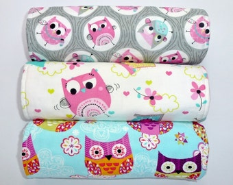 Baby Burp Cloths Set of 3, Baby Girl Baby Gift, Baby Girl, Baby Shower Gift, New Mums - Owls