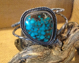 Vintage Large Native American Turquoise Silver Cuff