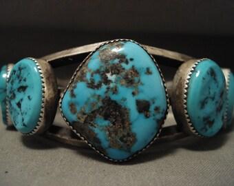 Museum Vintage Navajo Persin Turquoise Silver Bracelet