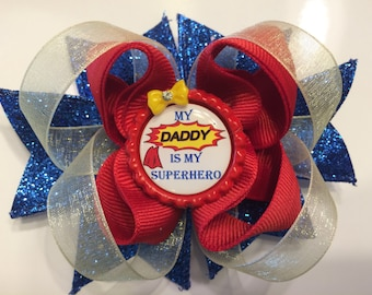 My Daddy is My Superhero Hair Bow