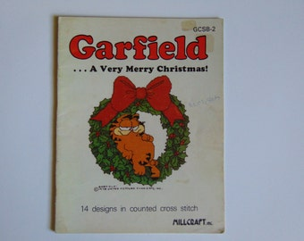 Garfield A very merry Christmas in Cross stitch Vintage 1978