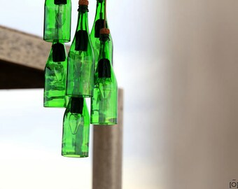 Ceiling lamp with bottles of green Crystal, pendant fixture, lighting and original decoration for the home, green glass