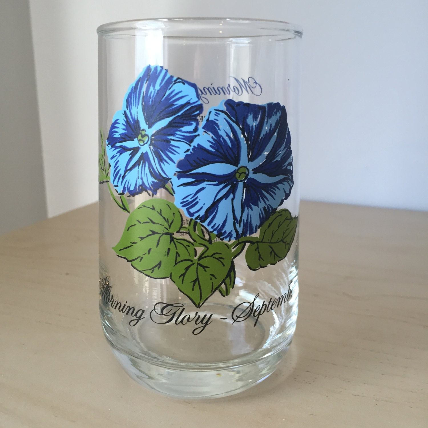Vintage Drinking Glass Flower Of The Month September Morning