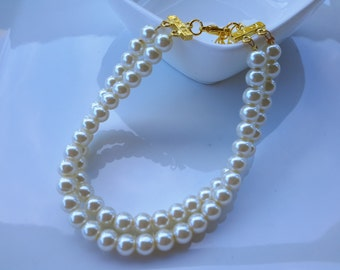 2 strand Round pearl bracelet, mother of bride, bridal, wedding bracelet, wedding jewelry
