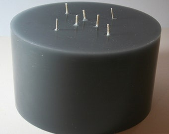 Candles, multi Wick candle, Multiwick candle, grey, large, round, pillar, diameter 19 cm, height 12 cm