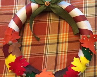 Autumn Leaves Felt and Yarn Wreath